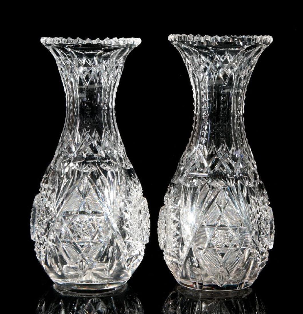 A PAIR OF CUT CRYSTAL VASES - 7