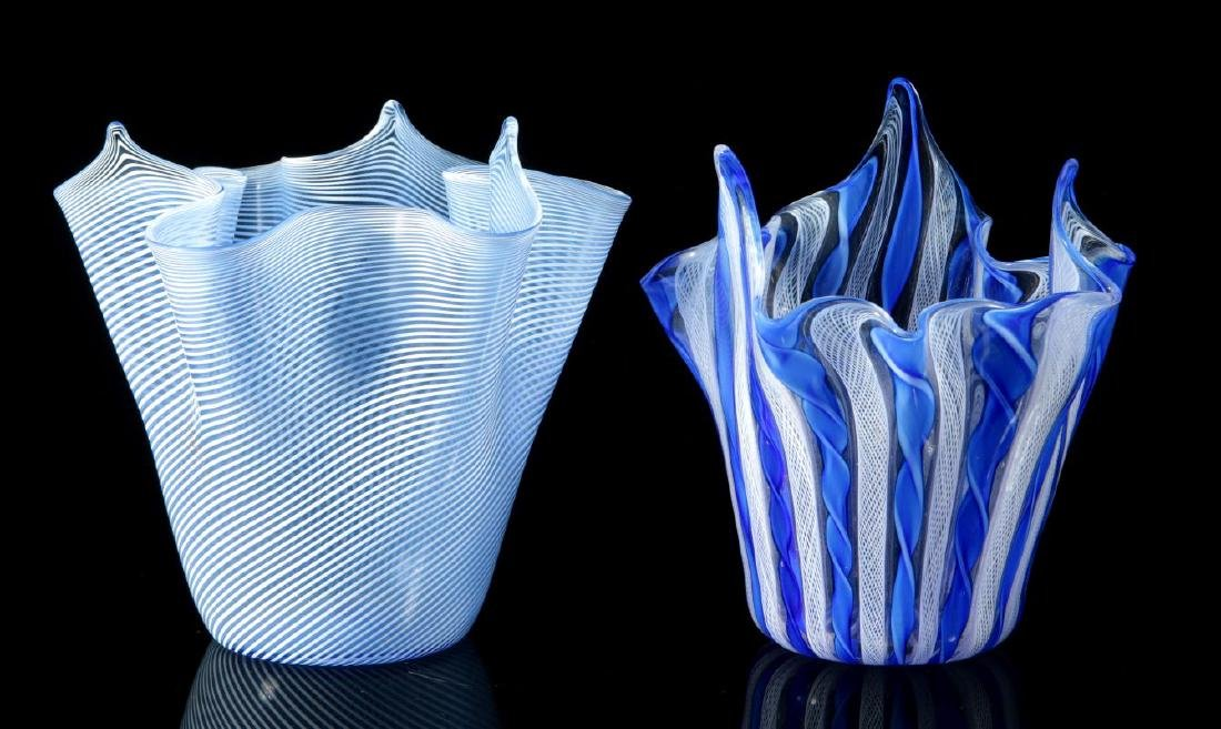 TWO ITALIAN ART GLASS HANDKERCHIEF VASES