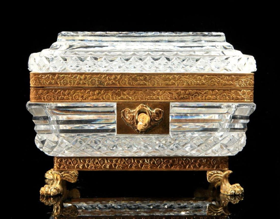 A GOOD EARLY 20TH C. CONTINENTAL CRYSTAL CASKET