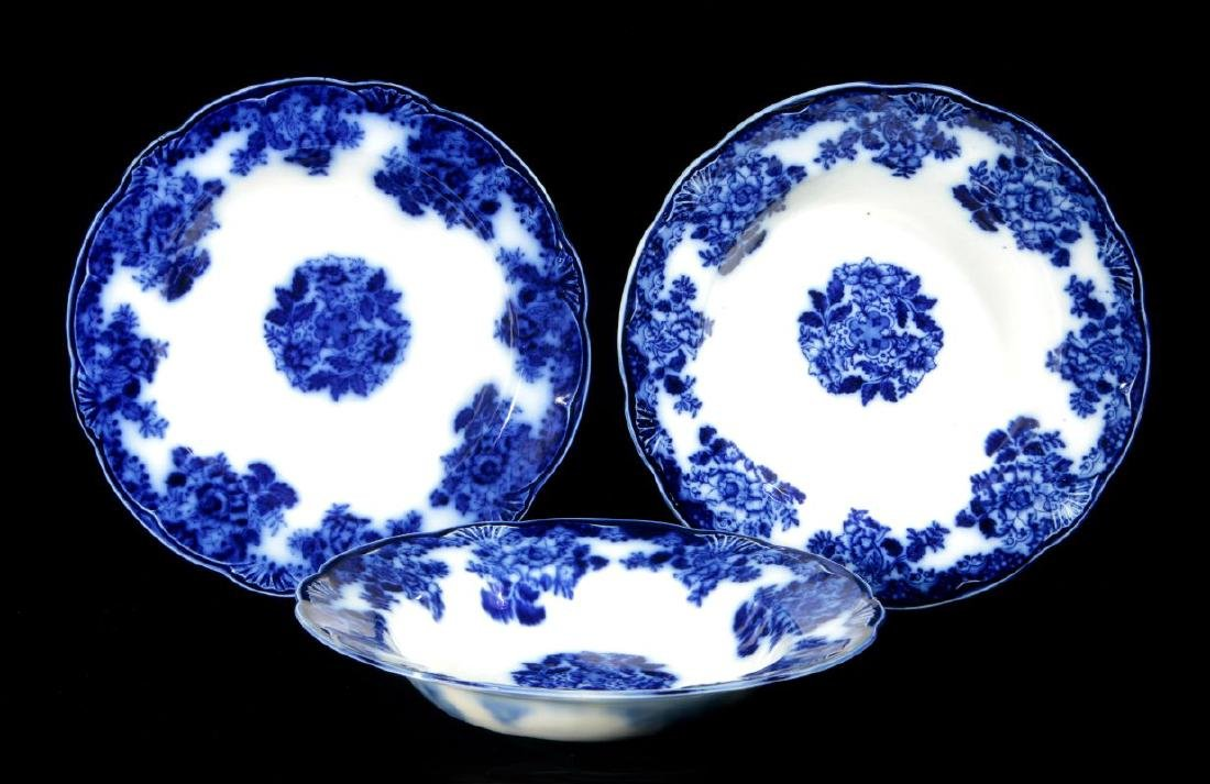 CIRCA 1900 WALDORF PATTERN FLOW BLUE SOUP PLATES