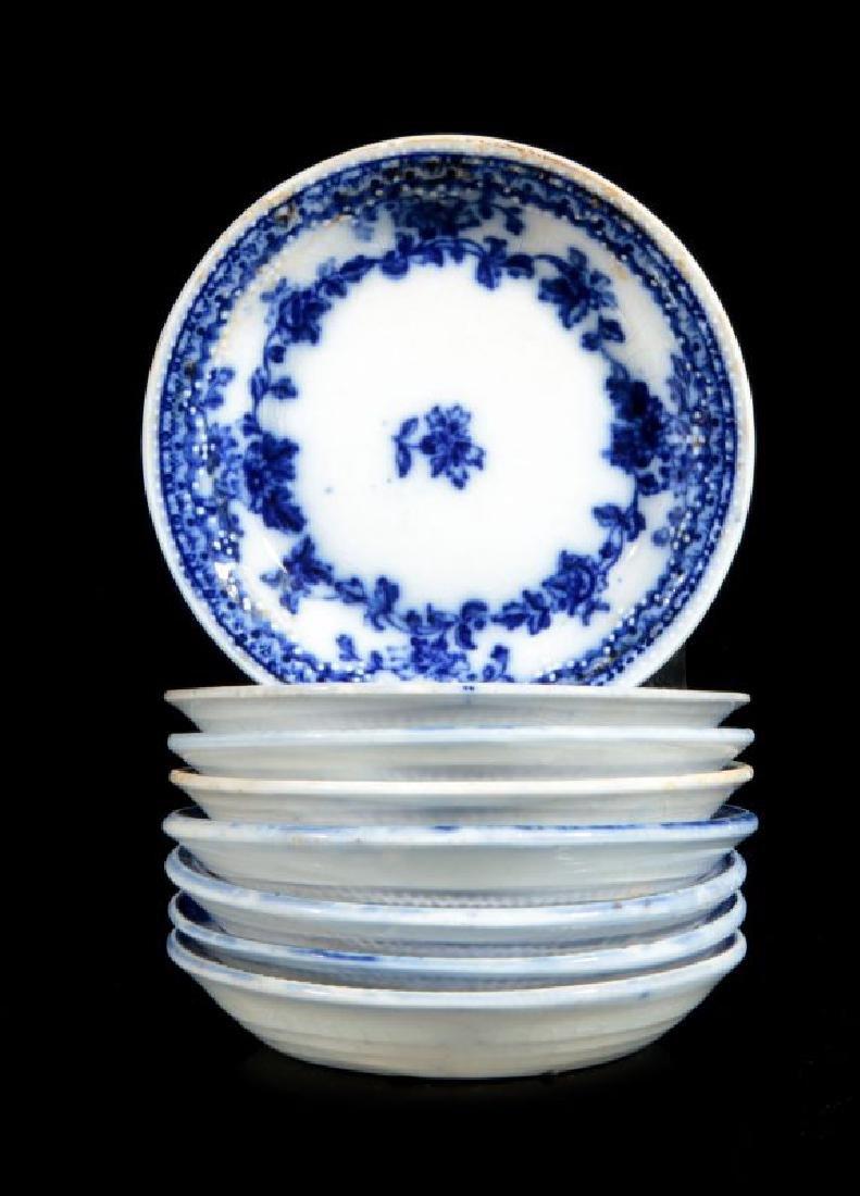 CIRCA 1900 HUDSON PATTERN FLOW BLUE FRUIT BOWLS