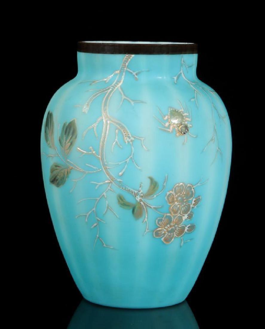 BLUE SATIN VICTORIAN ART GLASS VASE W/ ENAMEL BUG