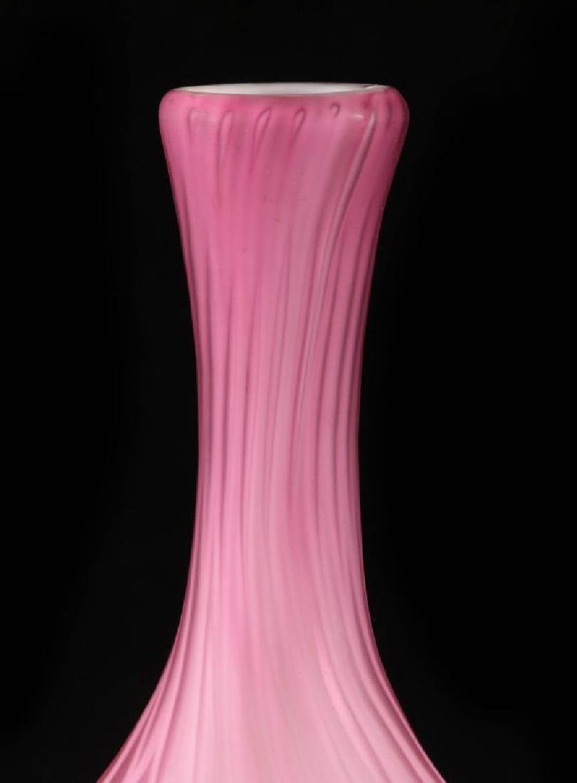 A 19TH C. CRANBERRY MOTHER-OF-PEARL GLASS VASE - 7