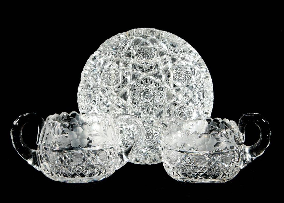 ABP CUT GLASS SHALLOW BOWL, CREAMER AND SUGAR