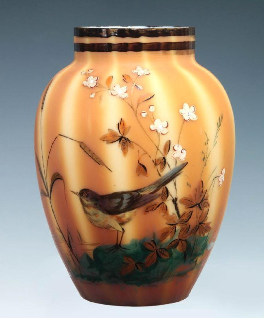 A 19TH C. ART GLASS  VASE WITH ENAMEL BIRD