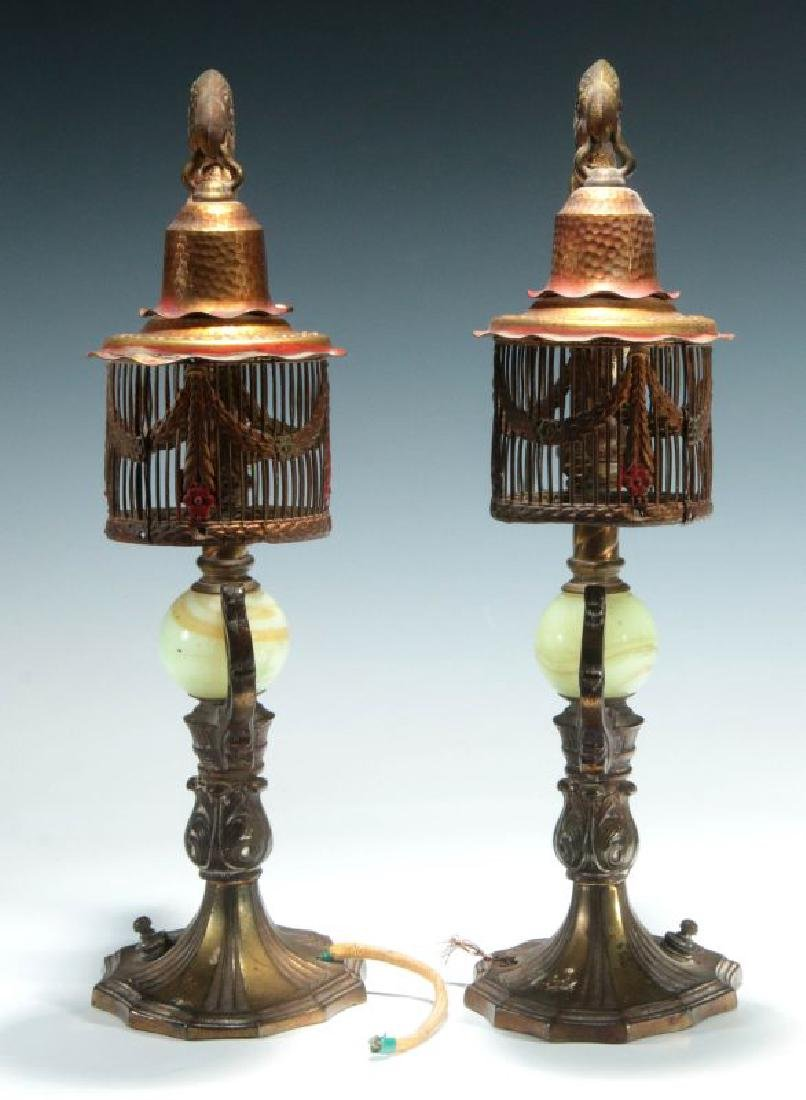 A GREAT PAIR OF C. 1920 PAINTED IRON PARROT LAMPS - 10