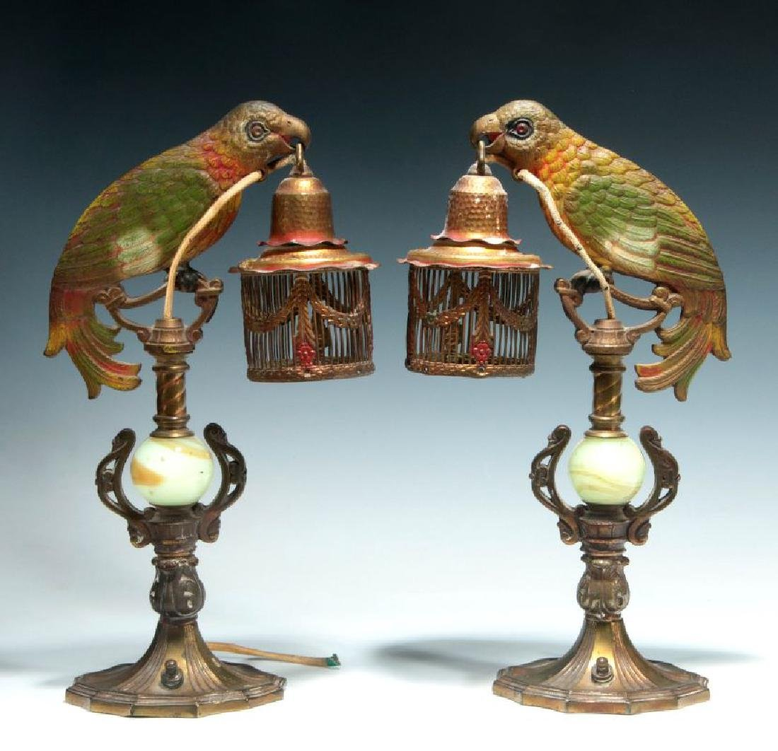 A GREAT PAIR OF C. 1920 PAINTED IRON PARROT LAMPS