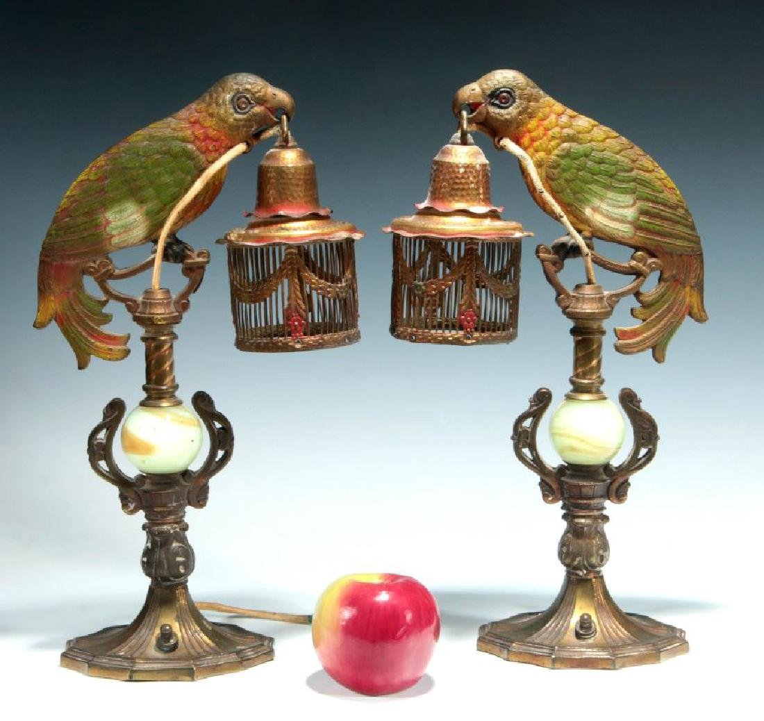 A GREAT PAIR OF C. 1920 PAINTED IRON PARROT LAMPS - 2