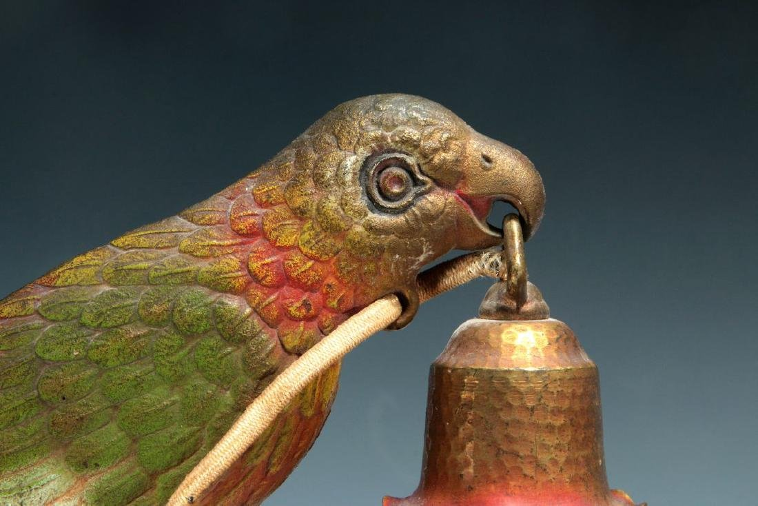 A GREAT PAIR OF C. 1920 PAINTED IRON PARROT LAMPS - 3