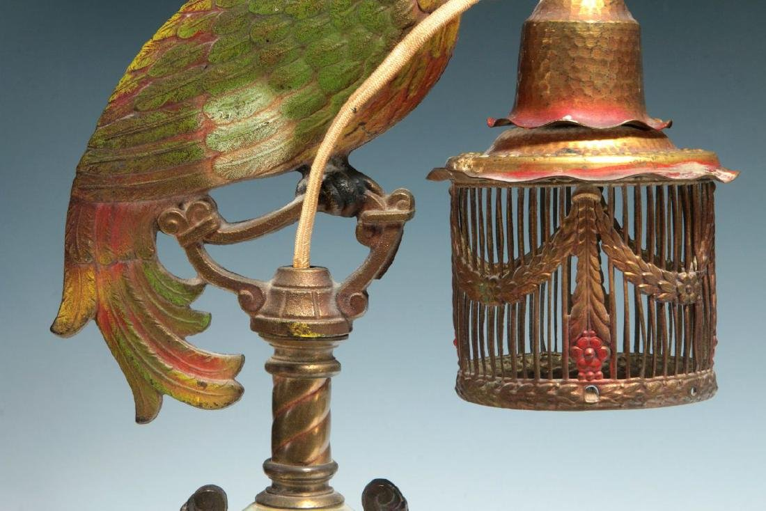 A GREAT PAIR OF C. 1920 PAINTED IRON PARROT LAMPS - 4