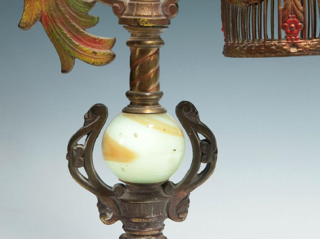 A GREAT PAIR OF C. 1920 PAINTED IRON PARROT LAMPS - 5