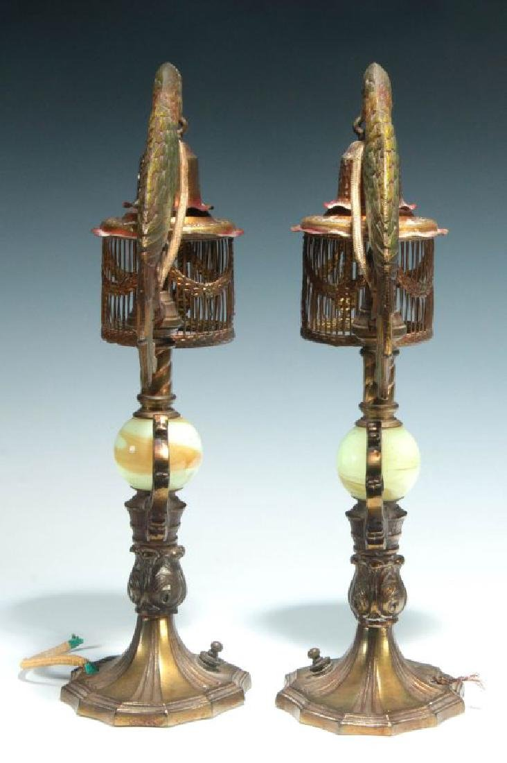A GREAT PAIR OF C. 1920 PAINTED IRON PARROT LAMPS - 7