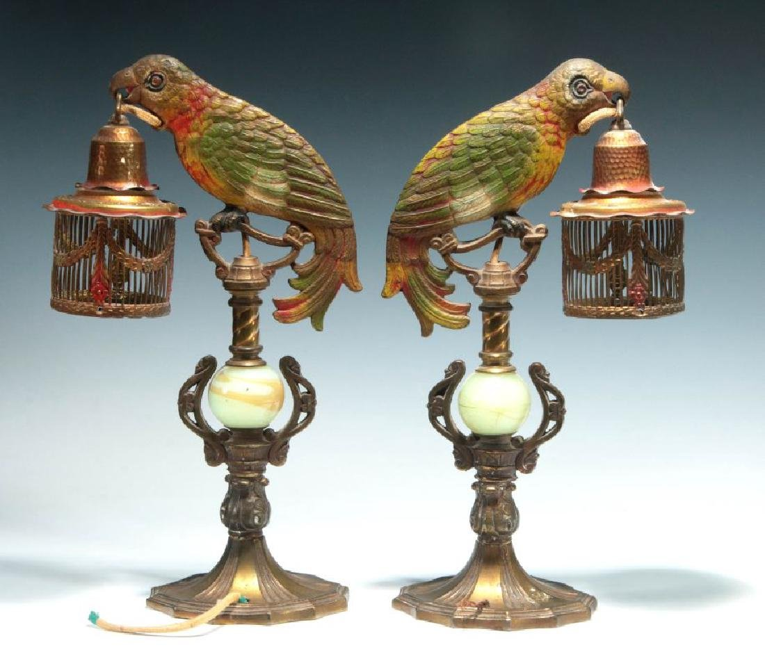 A GREAT PAIR OF C. 1920 PAINTED IRON PARROT LAMPS - 8