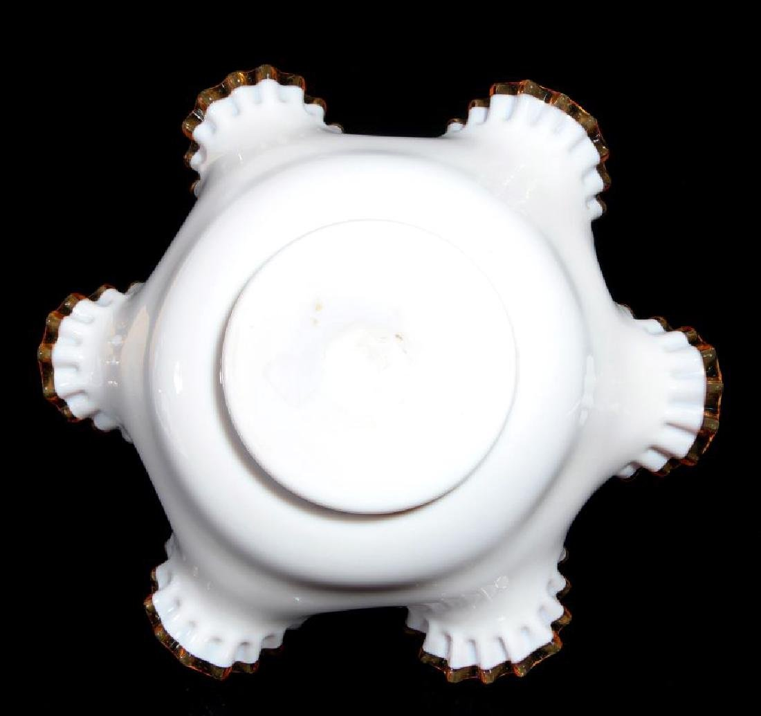 A CASED RUFFLED VICTORIAN ART GLASS BRIDE'S BOWL - 7
