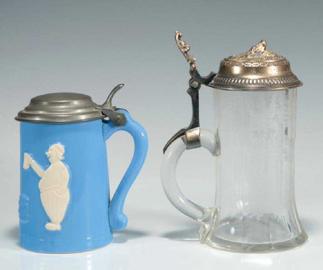 TWO GERMAN BEER STEINS, ST. EUSTACE - 4