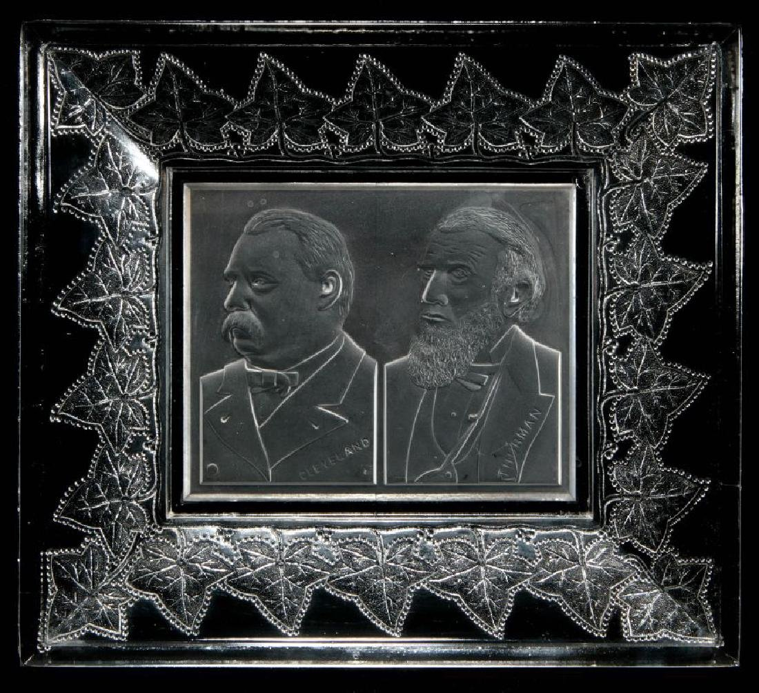 AN 1888 CLEVELAND-THURMAN HISTORICAL GLASS TRAY