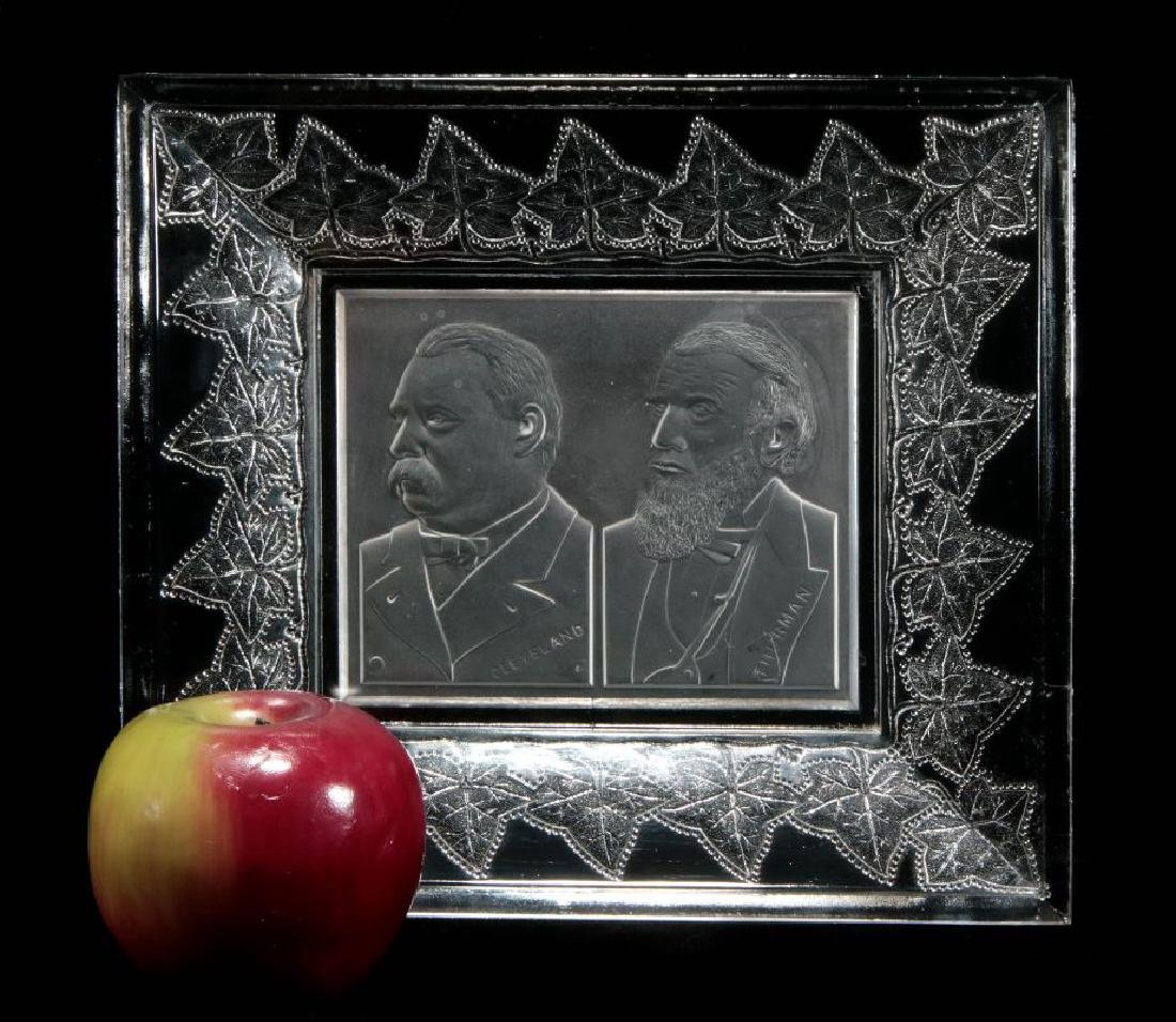 AN 1888 CLEVELAND-THURMAN HISTORICAL GLASS TRAY - 2