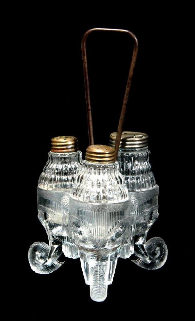 C 1890 GREENSBURG GLASS 'JUMBO' PATTERN CASTOR SET