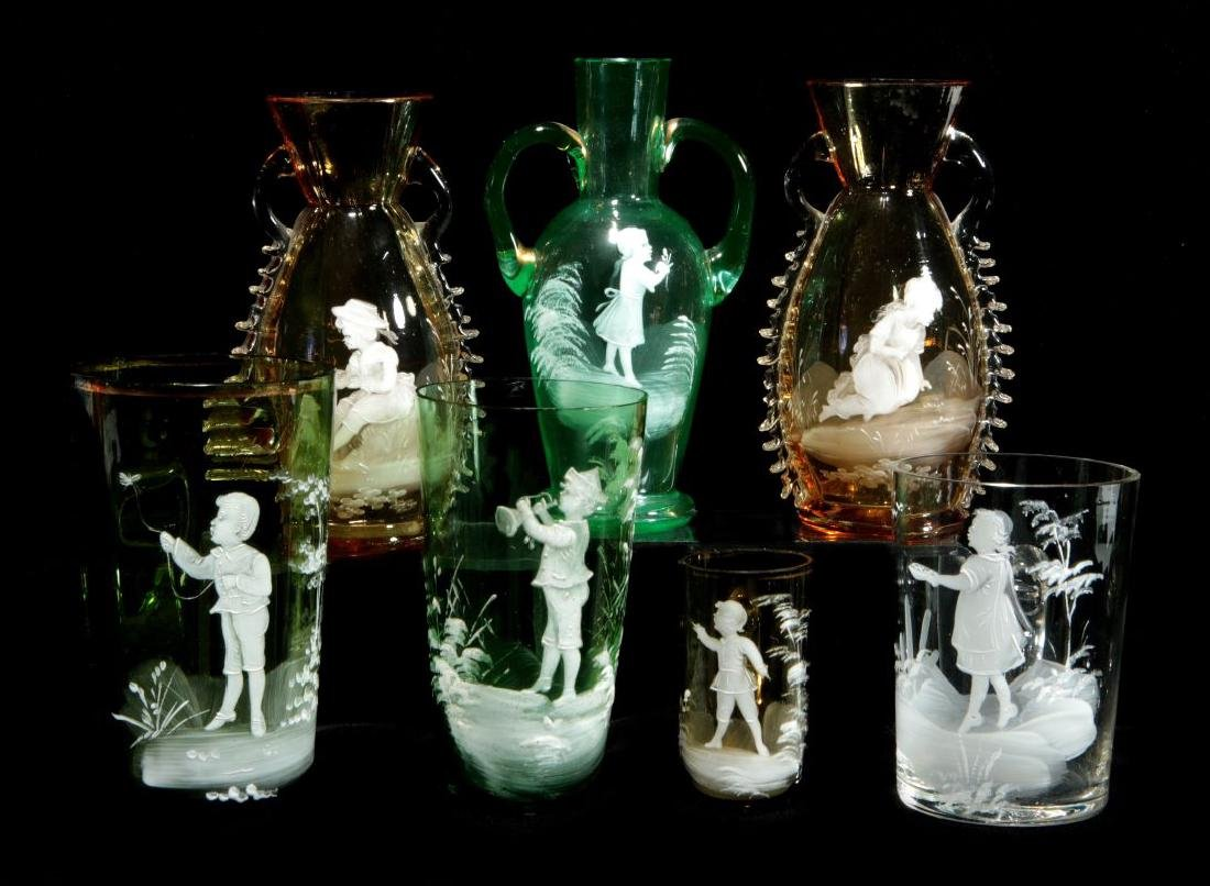 A COLLECTION OF 19TH C. MARY GREGORY GLASS ARTICLES