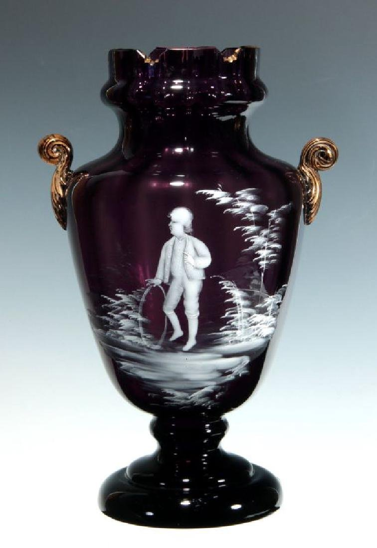 A 19TH C AMETHYST GLASS VASE W/ MARY GREGORY DECORATION