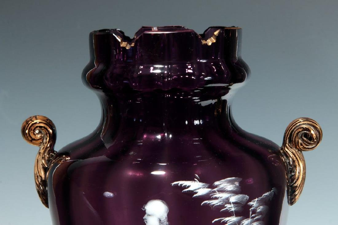 A 19TH C AMETHYST GLASS VASE W/ MARY GREGORY DECORATION - 3