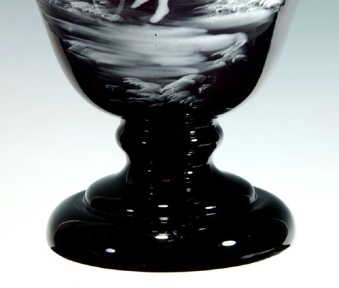 A 19TH C AMETHYST GLASS VASE W/ MARY GREGORY DECORATION - 4