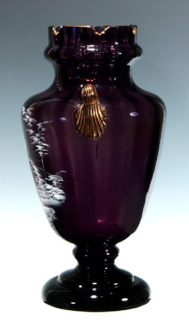 A 19TH C AMETHYST GLASS VASE W/ MARY GREGORY DECORATION - 5