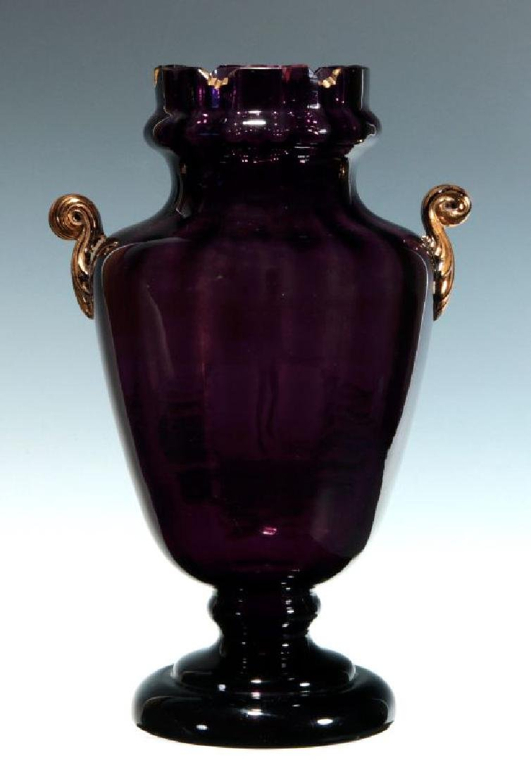 A 19TH C AMETHYST GLASS VASE W/ MARY GREGORY DECORATION - 6