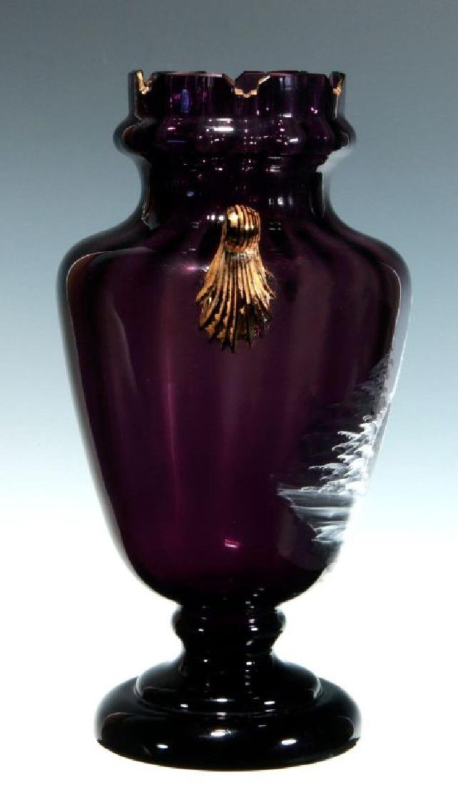 A 19TH C AMETHYST GLASS VASE W/ MARY GREGORY DECORATION - 7