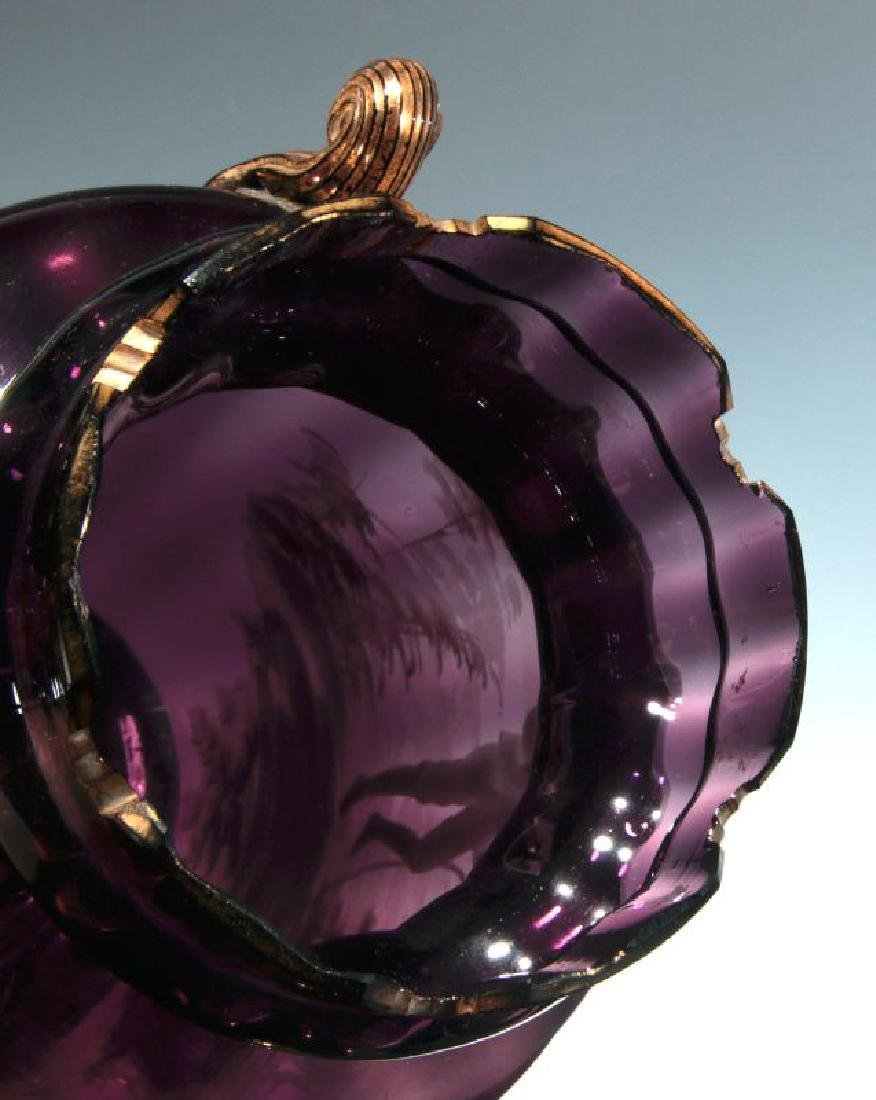 A 19TH C AMETHYST GLASS VASE W/ MARY GREGORY DECORATION - 8