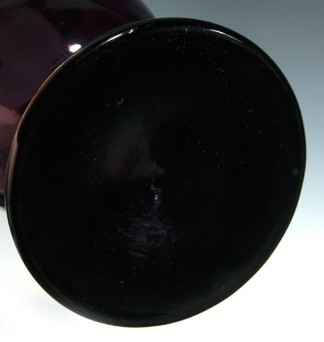 A 19TH C AMETHYST GLASS VASE W/ MARY GREGORY DECORATION - 9