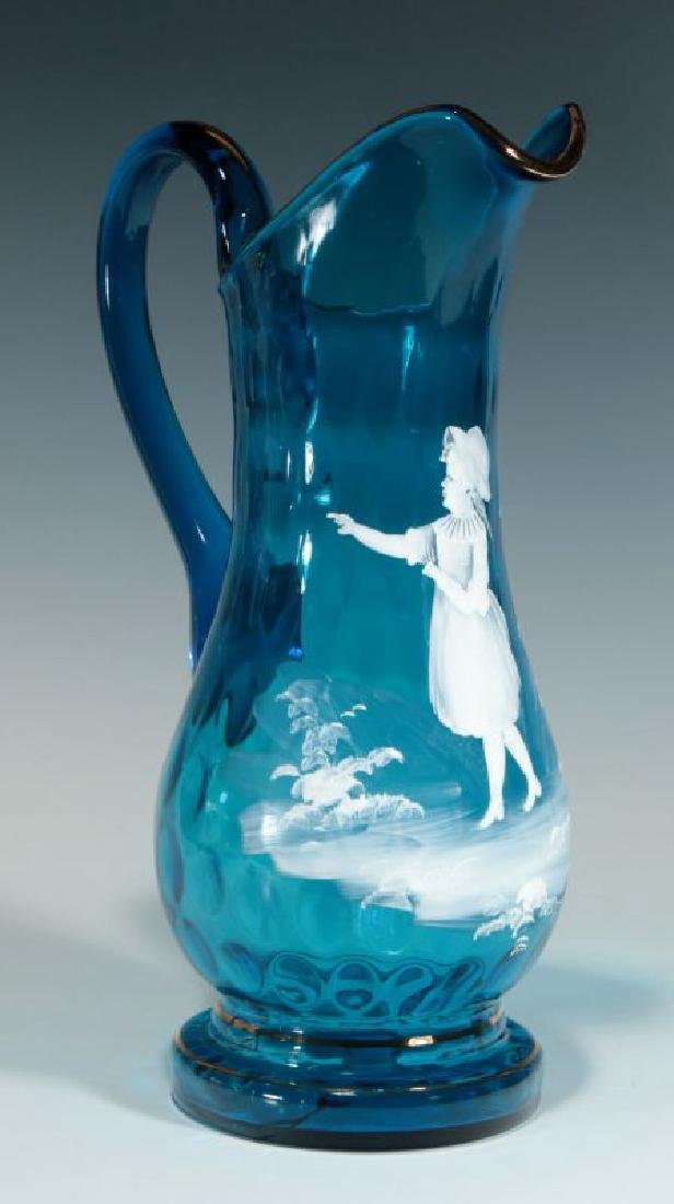 A 19TH C PITCHER WITH MARY GREGORY-TYPE DECORATION