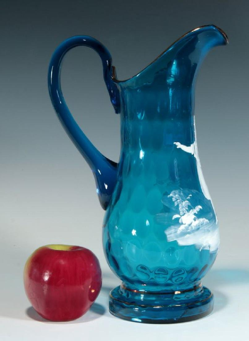 A 19TH C PITCHER WITH MARY GREGORY-TYPE DECORATION - 2