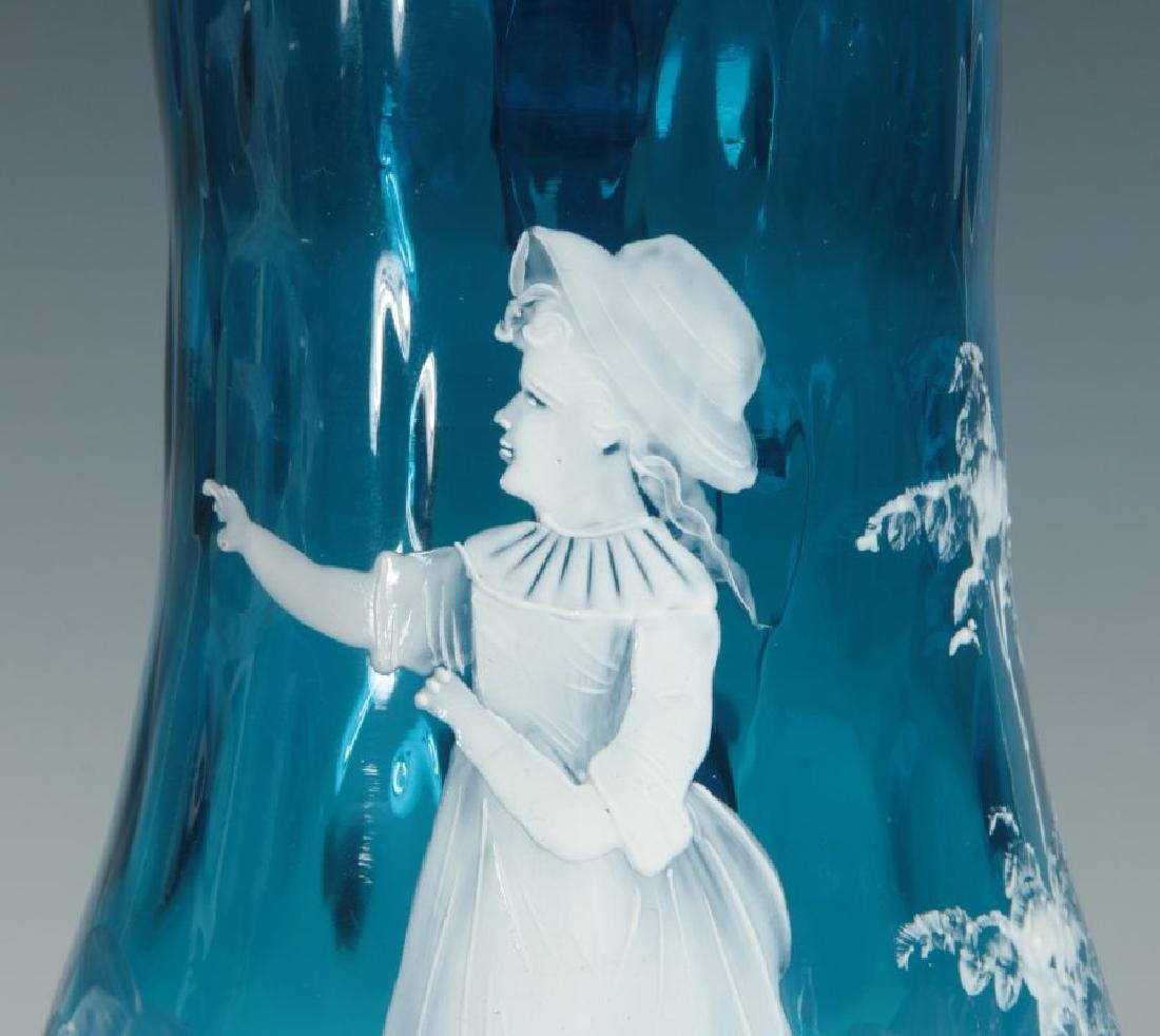 A 19TH C PITCHER WITH MARY GREGORY-TYPE DECORATION - 4