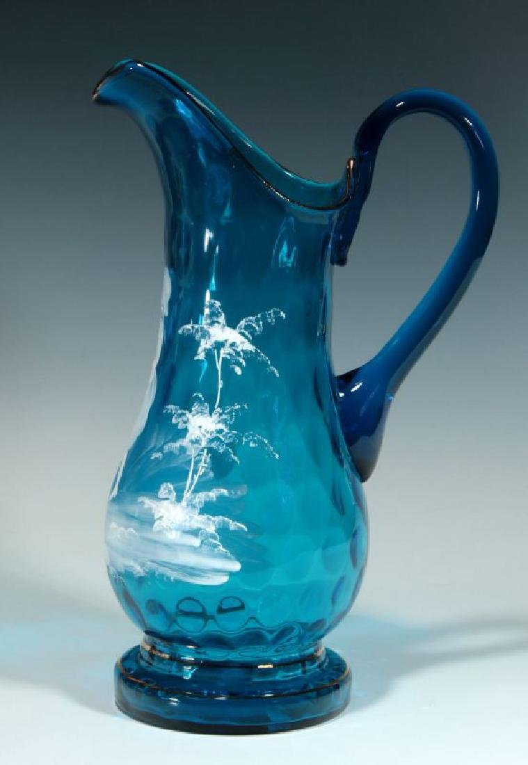 A 19TH C PITCHER WITH MARY GREGORY-TYPE DECORATION - 6