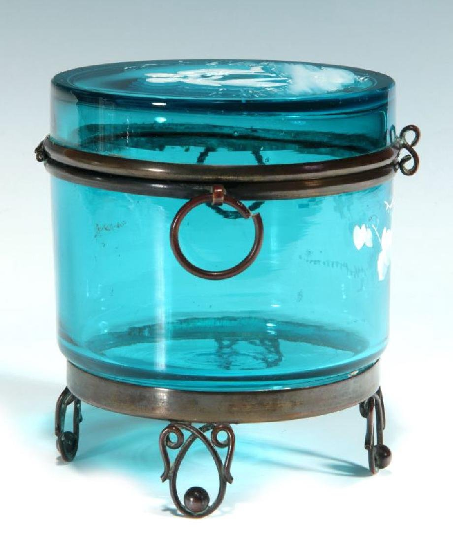 A BLUE RING BOX WITH MARY GREGORY-TYPE DECORATION - 6