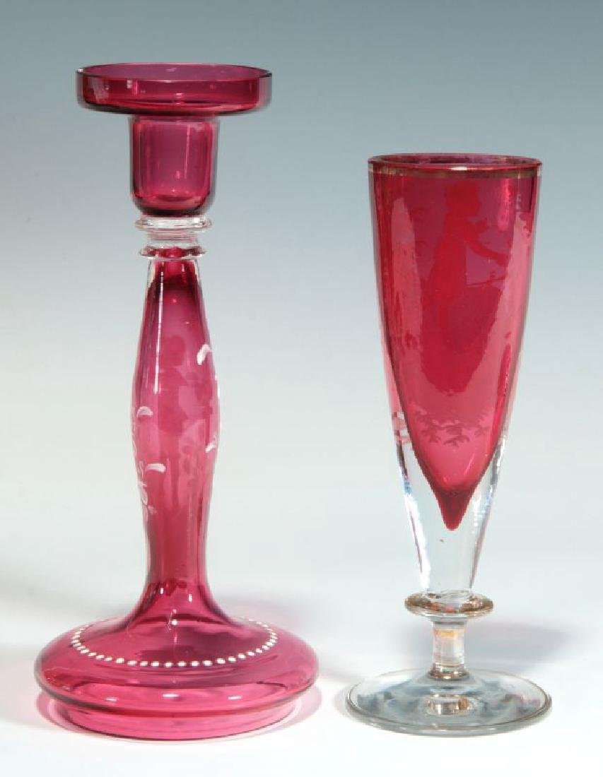 A MARY GREGORY-TYPE CRANBERRY CANDLESTICK, ETC. - 6