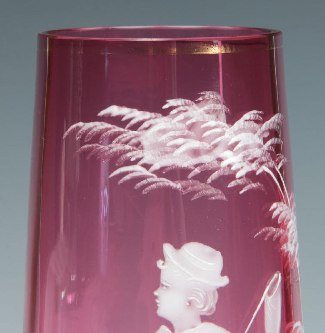 MARY GREGORY-TYPE CRANBERRY VASE ON ORMOLU FOOT - 4