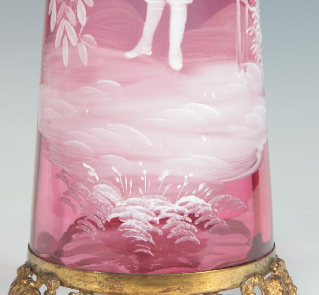MARY GREGORY-TYPE CRANBERRY VASE ON ORMOLU FOOT - 6