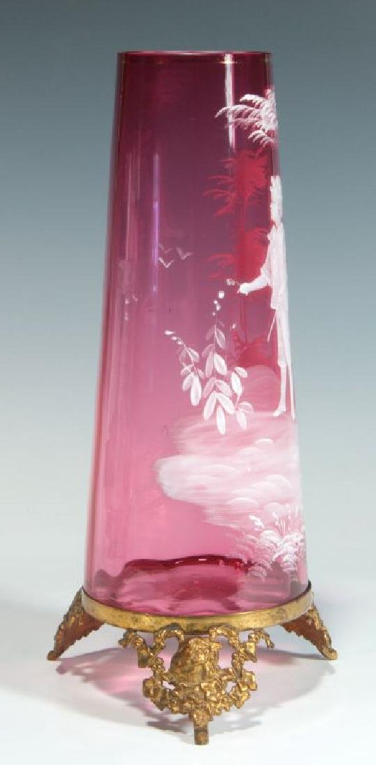 MARY GREGORY-TYPE CRANBERRY VASE ON ORMOLU FOOT - 7