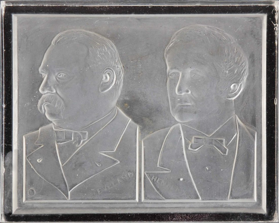 A CLEVELAND-HENDRICKS GLASS TRAY WITH HANDLES, 1884 - 2