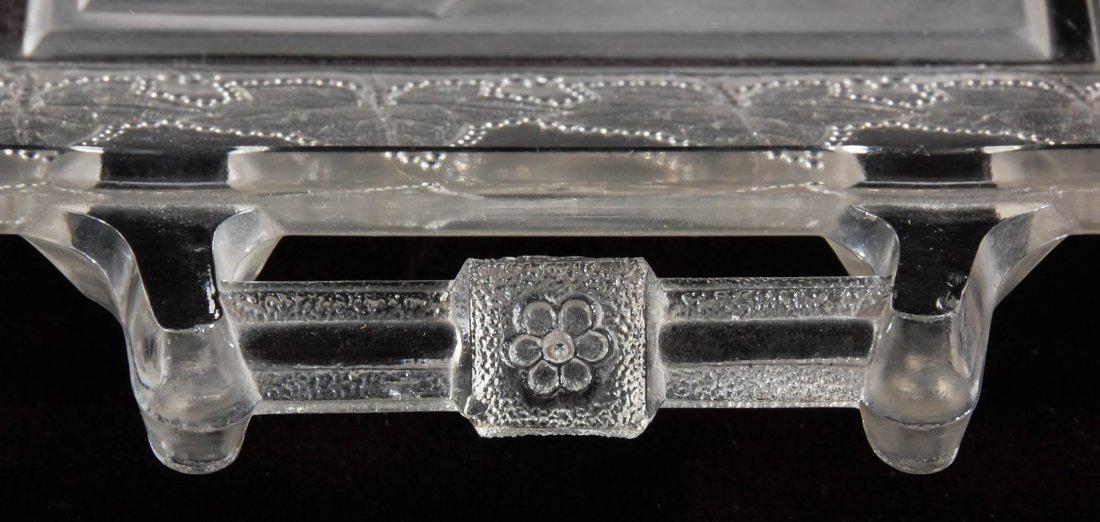 A CLEVELAND-HENDRICKS GLASS TRAY WITH HANDLES, 1884 - 5