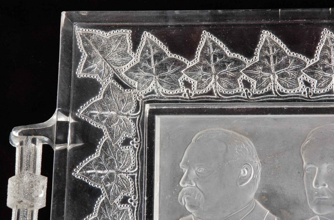 A CLEVELAND-HENDRICKS GLASS TRAY WITH HANDLES, 1884 - 6
