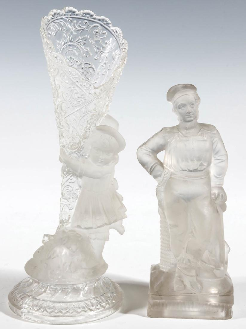19TH CENTURY FROSTED GLASS STATUETTES, LOT OF TWO