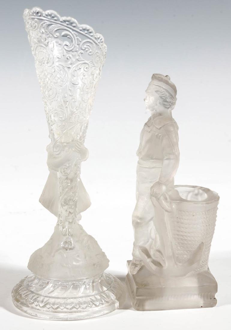 19TH CENTURY FROSTED GLASS STATUETTES, LOT OF TWO - 8