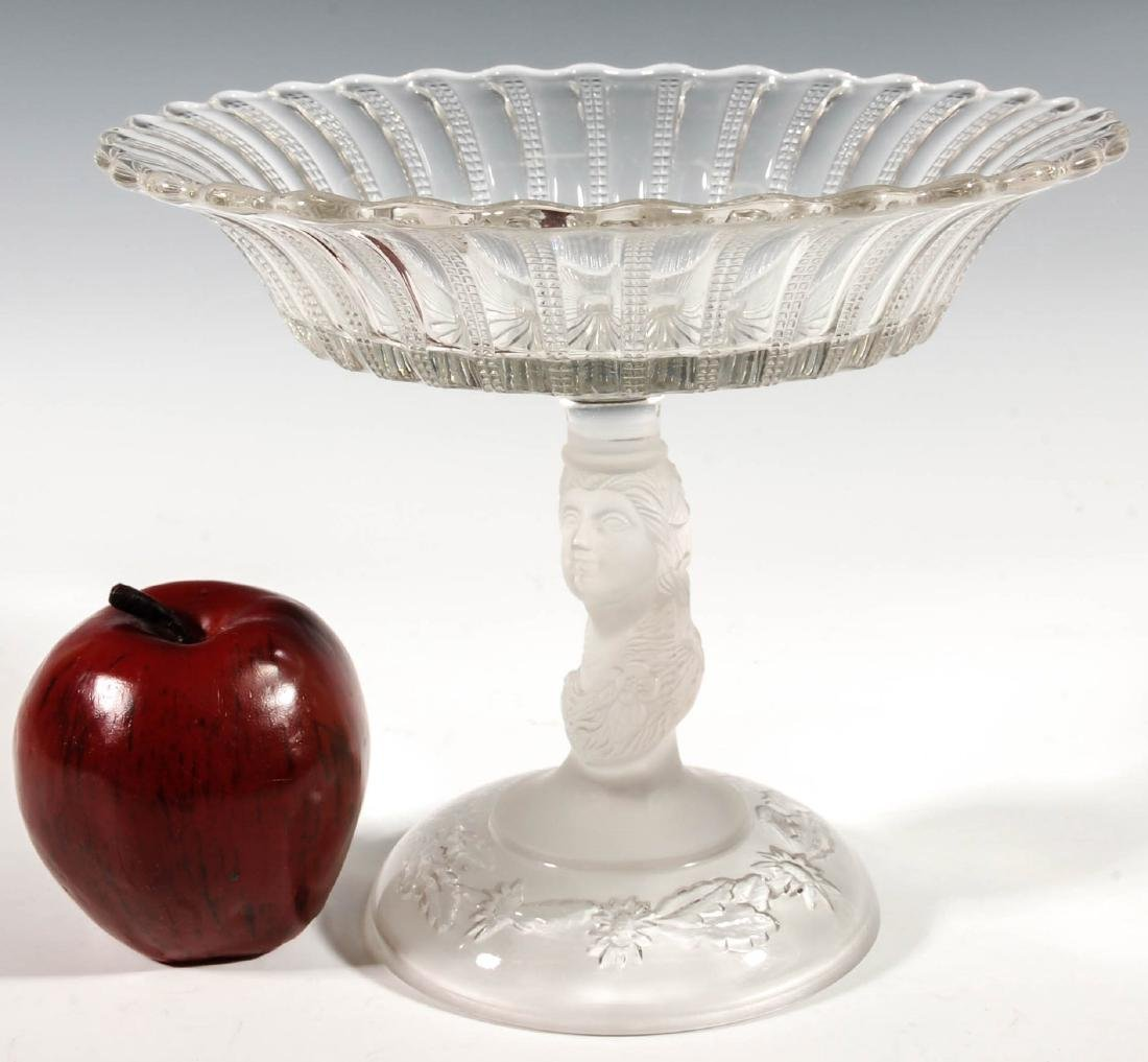 A 19TH CENTURY FROSTED JENNY LIND COMPOTE - 4