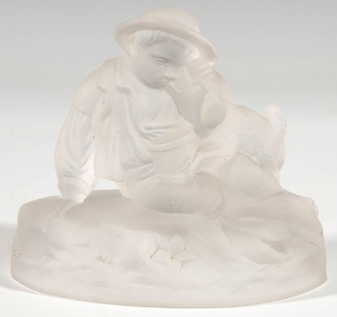 A GILLINDER BOY AND DOG FROSTED GLASS PAPERWEIGHT