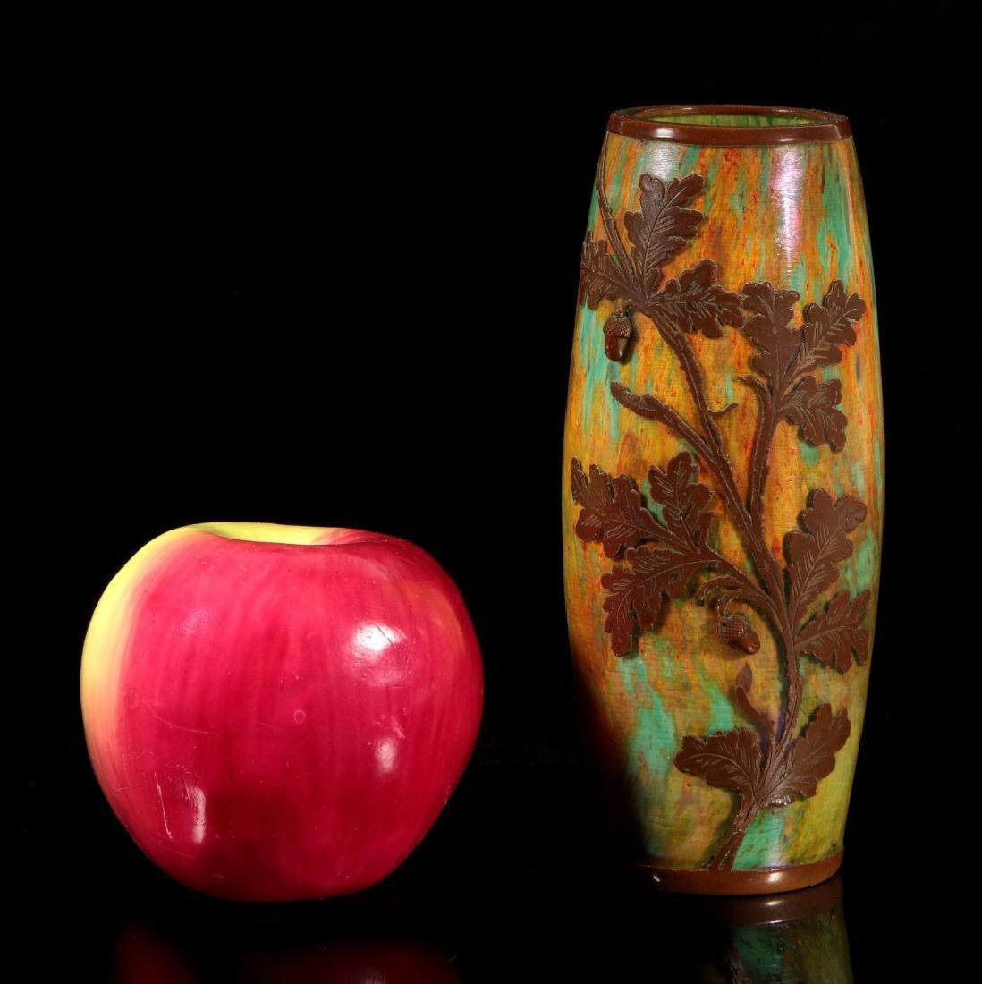 AUSTRIAN(?) ART GLASS VASE CLAD IN ENGRAVED COPPER - 2