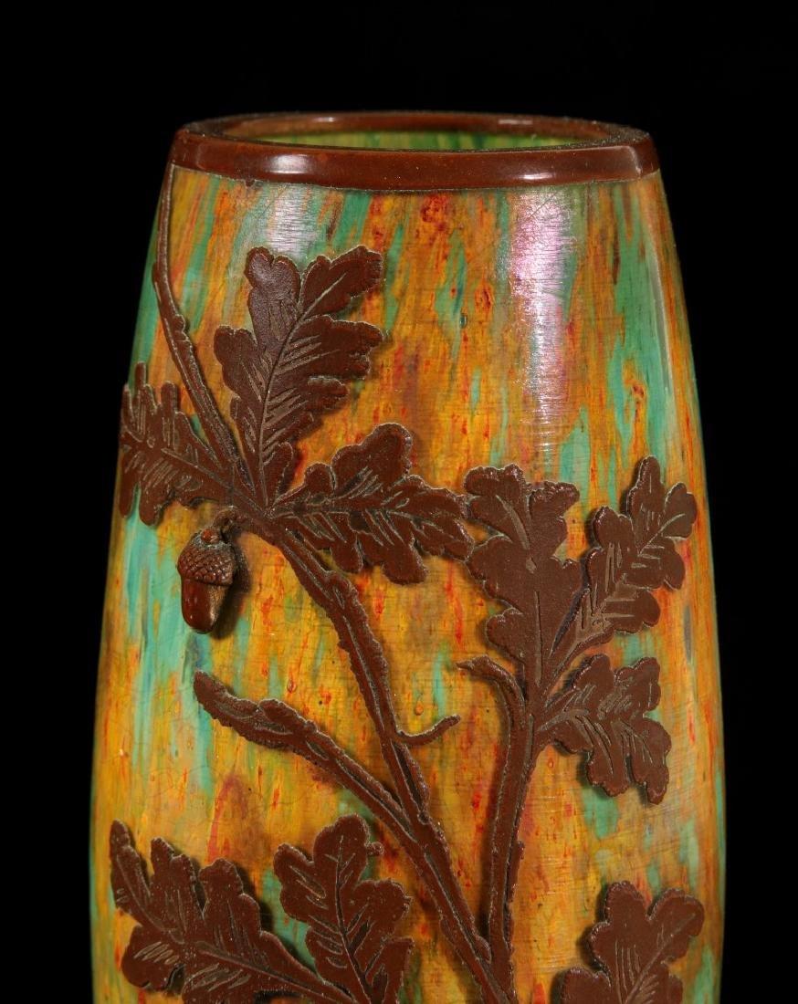 AUSTRIAN(?) ART GLASS VASE CLAD IN ENGRAVED COPPER - 3