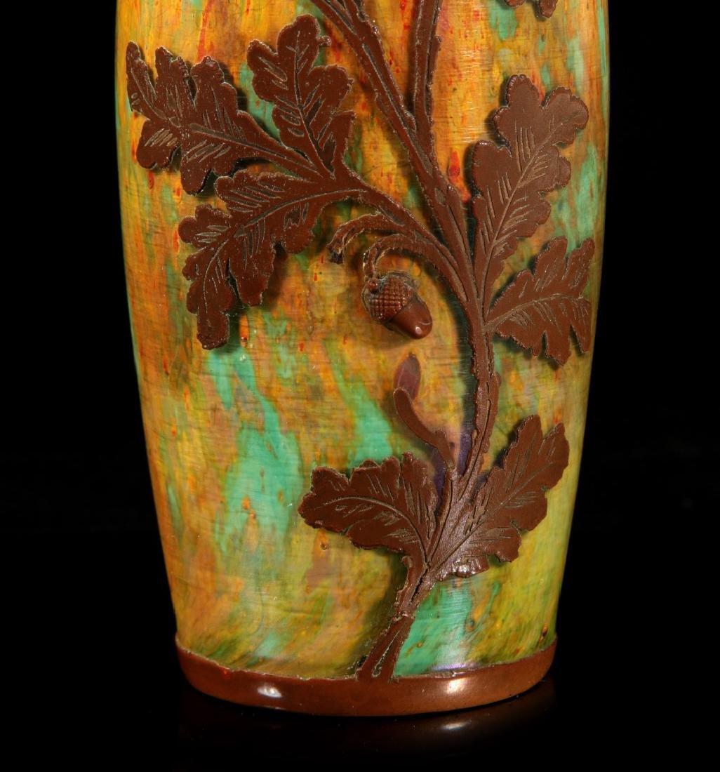 AUSTRIAN(?) ART GLASS VASE CLAD IN ENGRAVED COPPER - 4